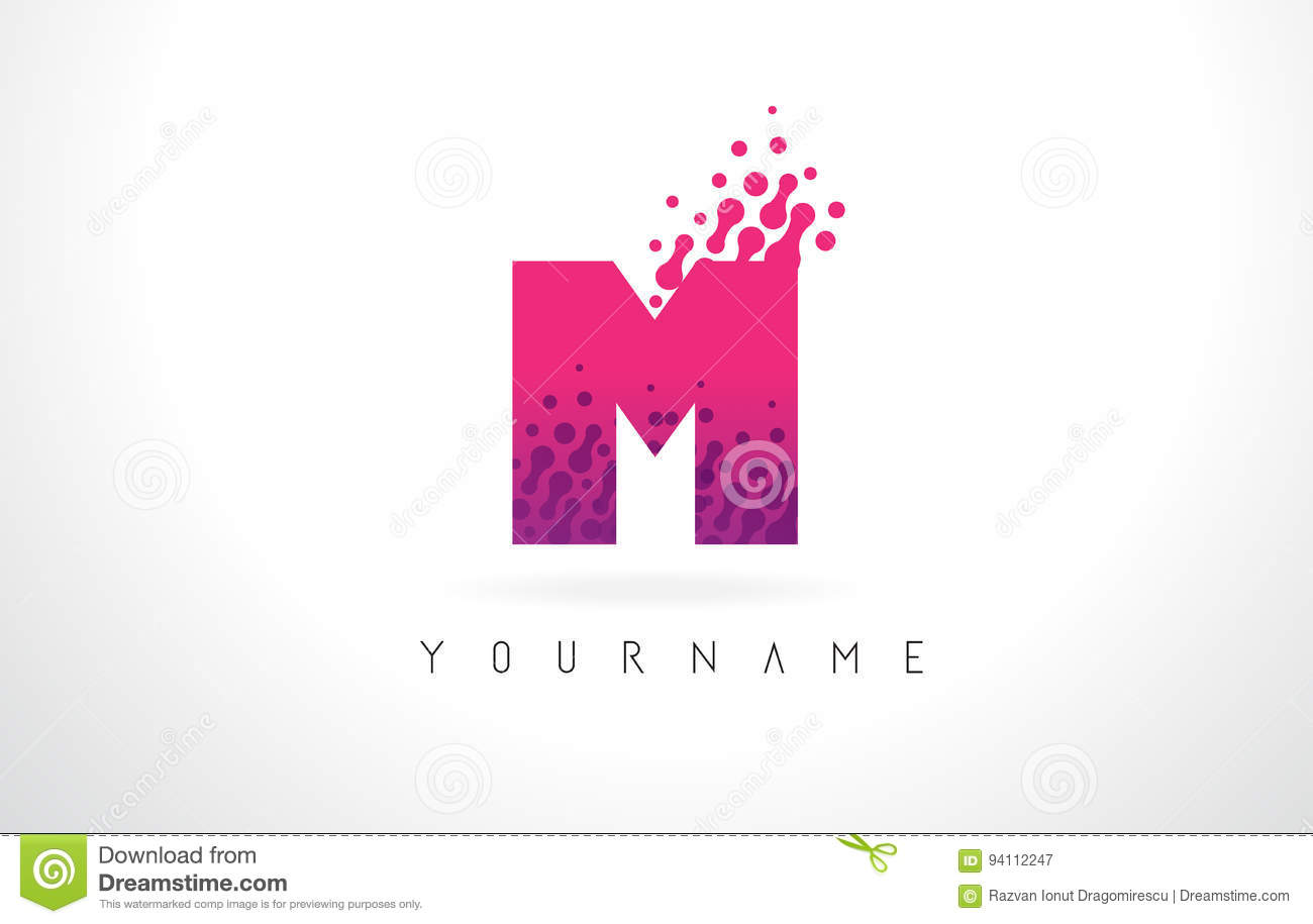 M Letter Logo With Pink Purple Color And Particles Dots Design ...