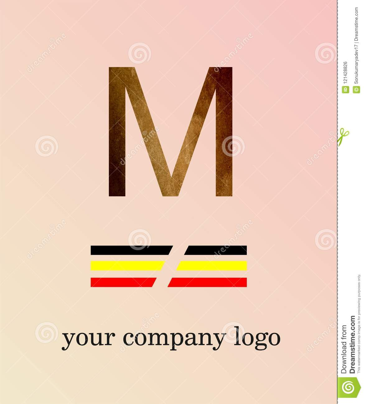 M Letter Logo With Texture Template You Company Logo And Light Pink ...