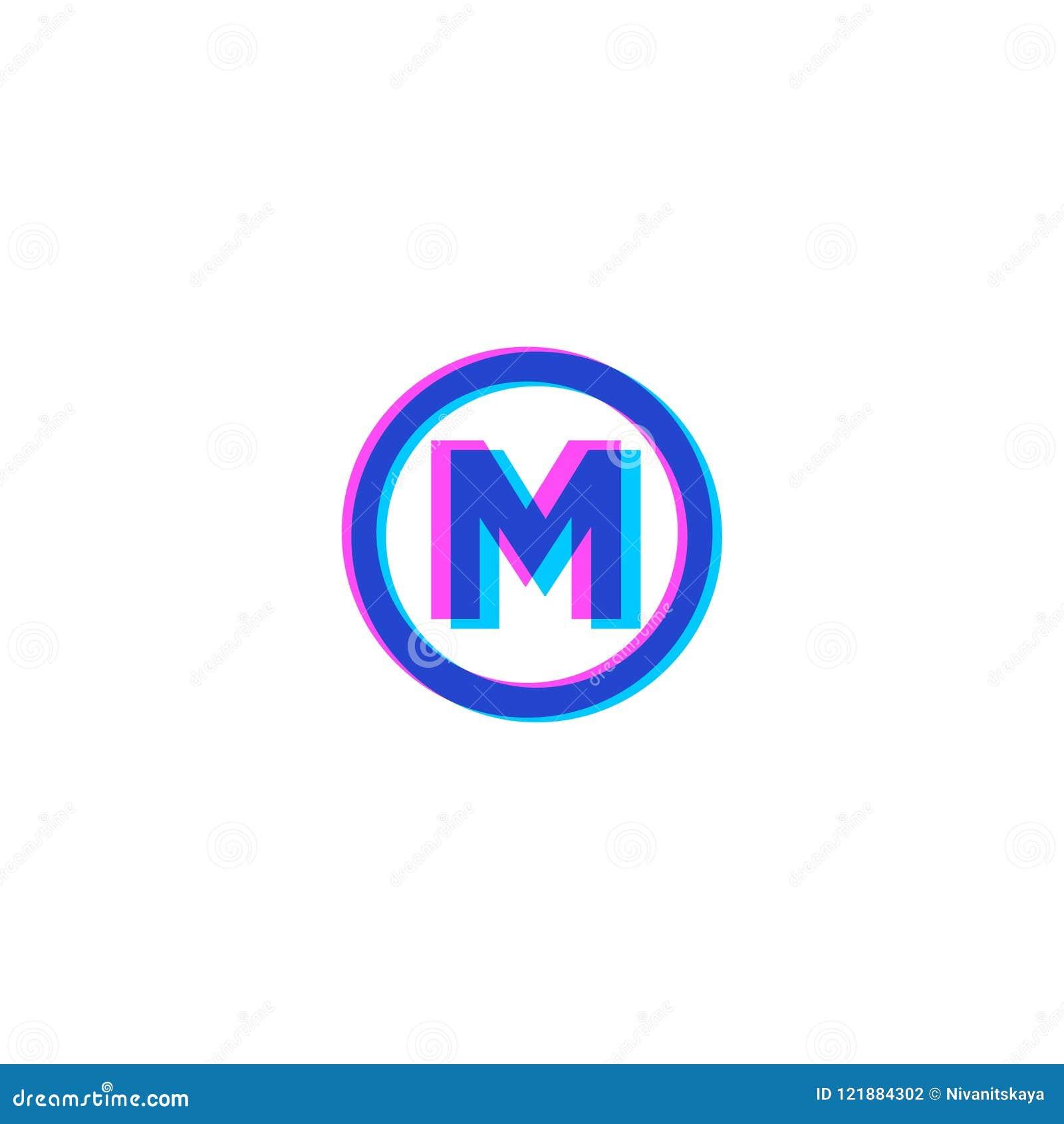 M Letter M Flat Monogram Stereo Monogram In The Circle