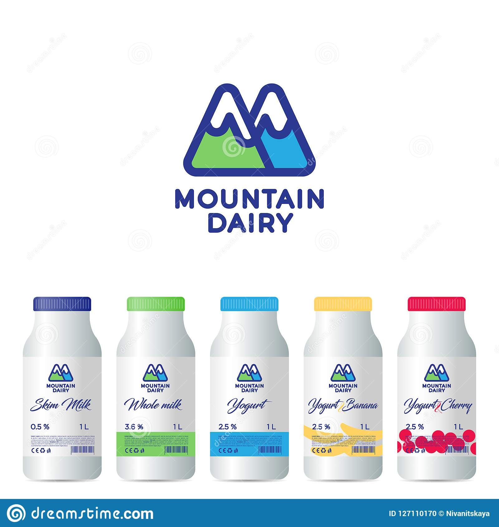 M letter. M monogram. Mountain Dairy Products logo. Letter M is like mountains. Packaging design.