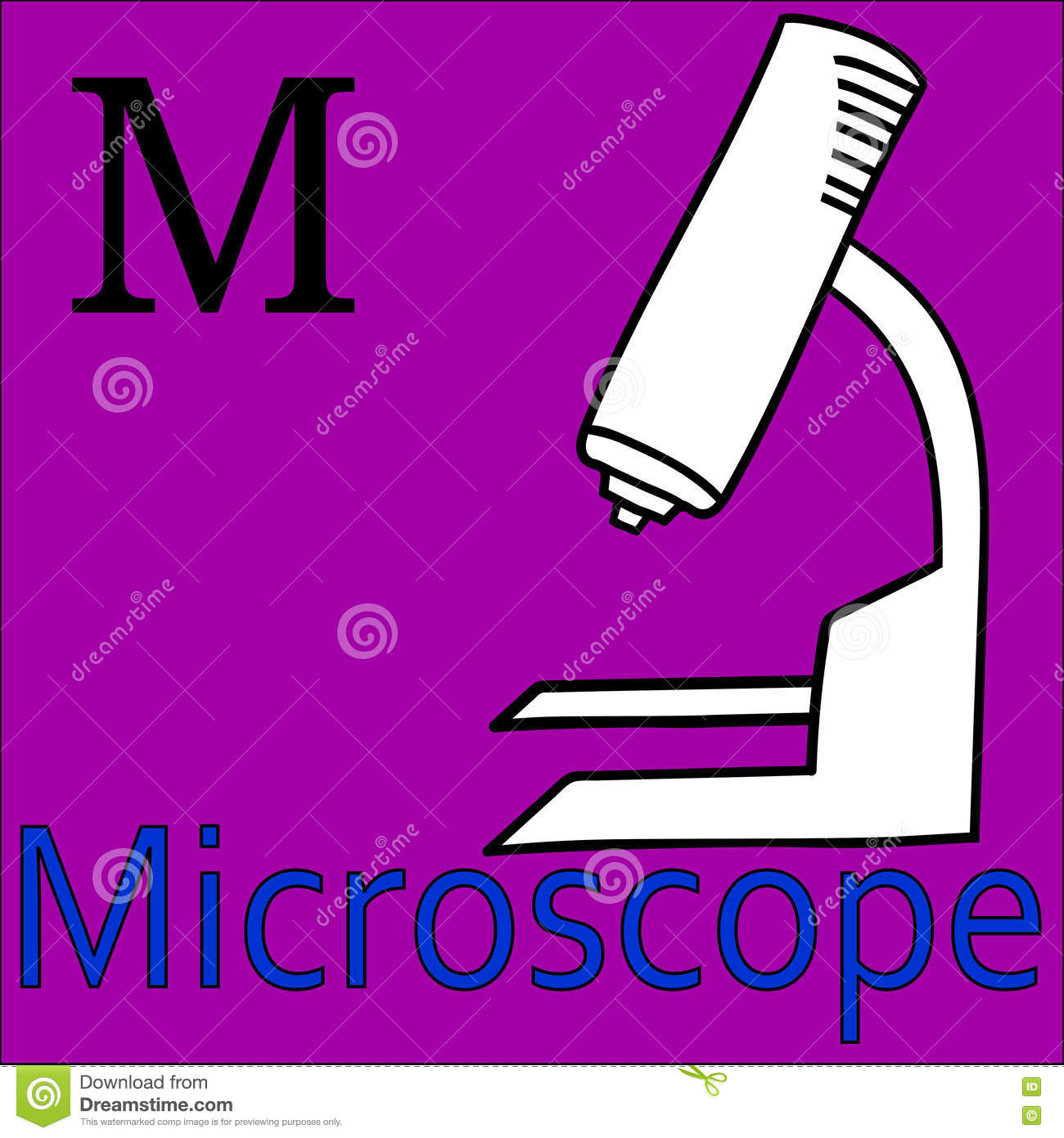 M Letter. Vector Alphabet. Coloring Microscope Stock Vector ...
