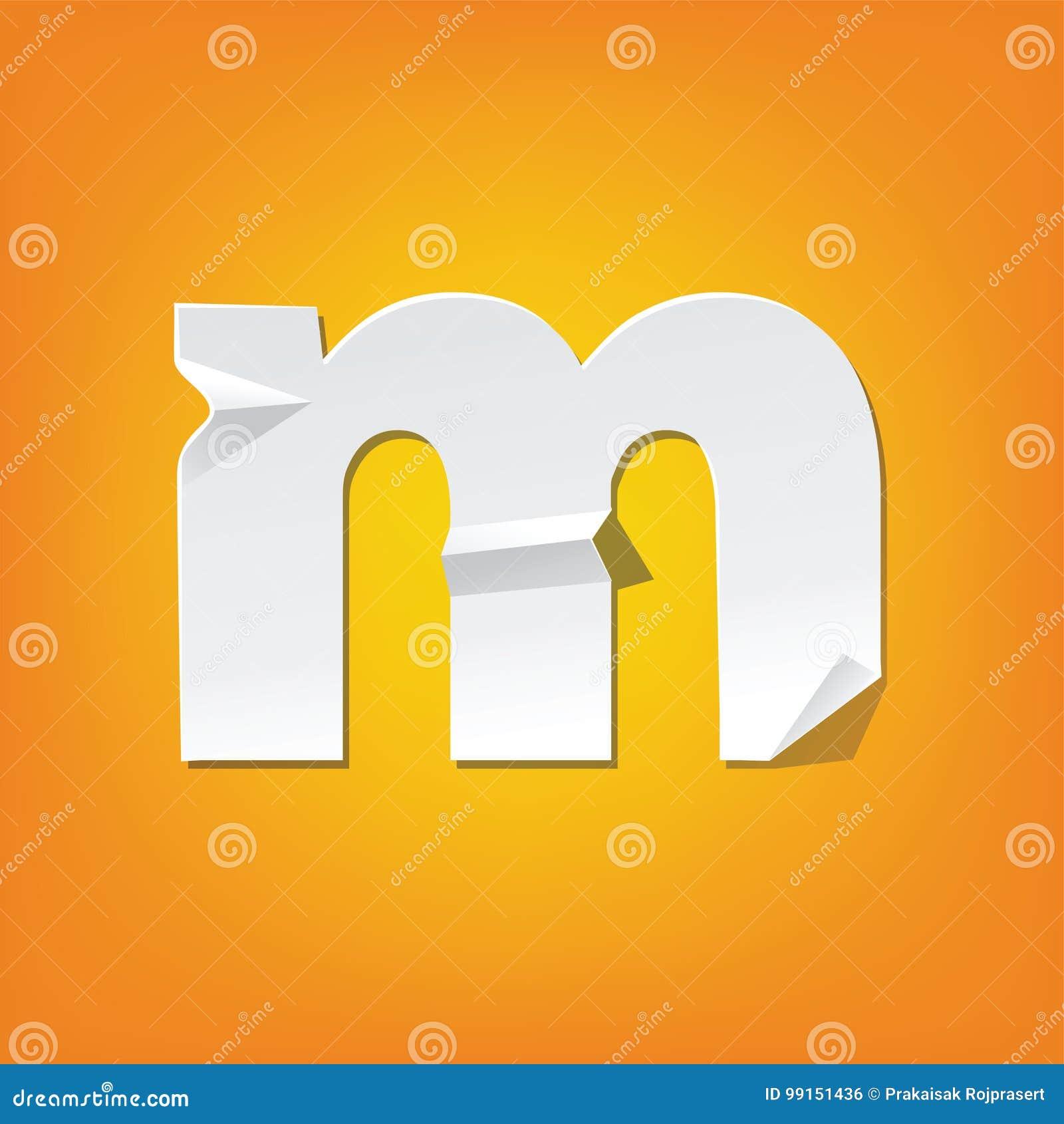 M Lowercase Letter Fold English Alphabet Design Stock Vector