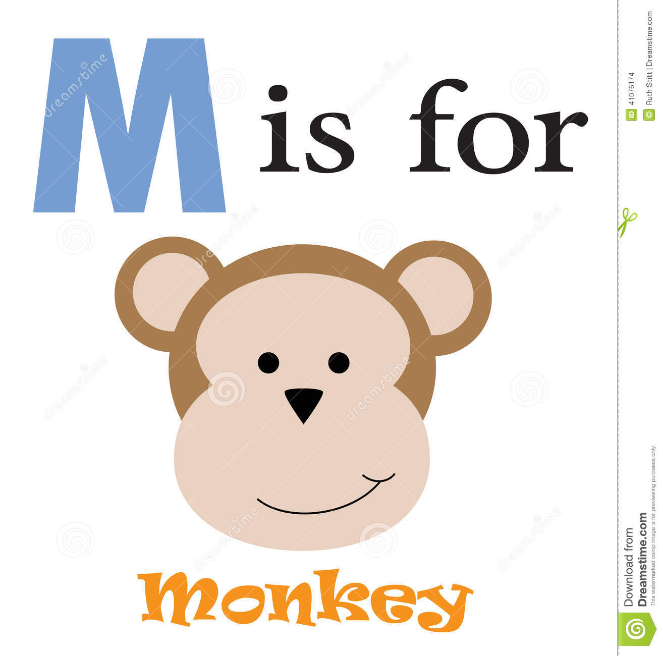 Stock Vector: M is for Monkey