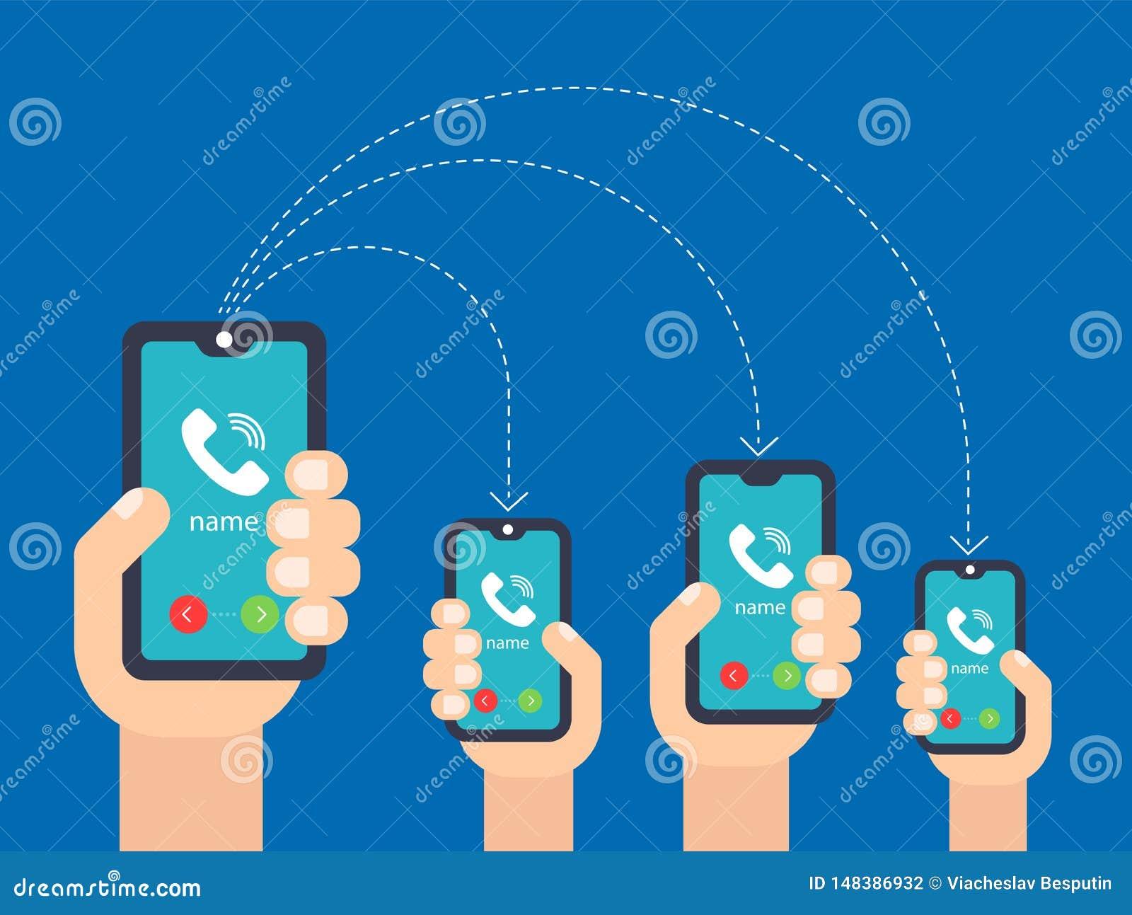 M?o com o telefone chamada aos smartphones m?ltiplos
