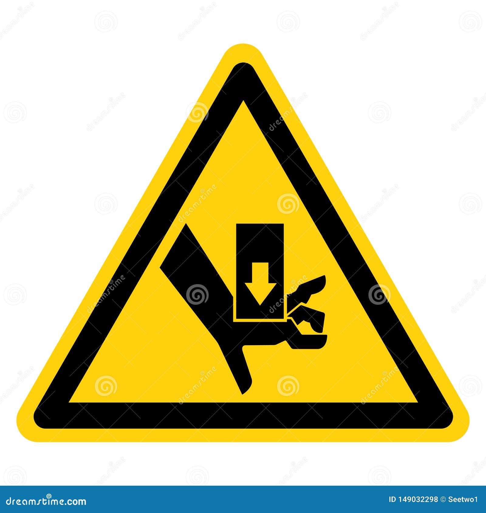 A m?o esmaga a for?a de cima do isolado do sinal do s?mbolo no fundo branco, ilustra??o do vetor
