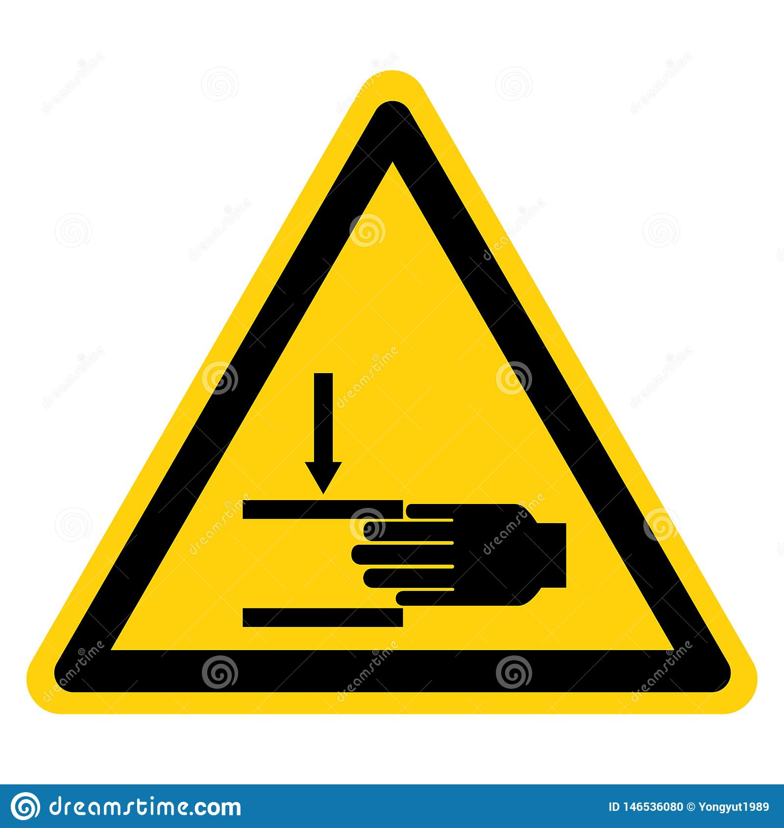 A m?o esmaga a for?a de cima do sinal do s?mbolo, ilustra??o do vetor, isolado na etiqueta branca do fundo EPS10