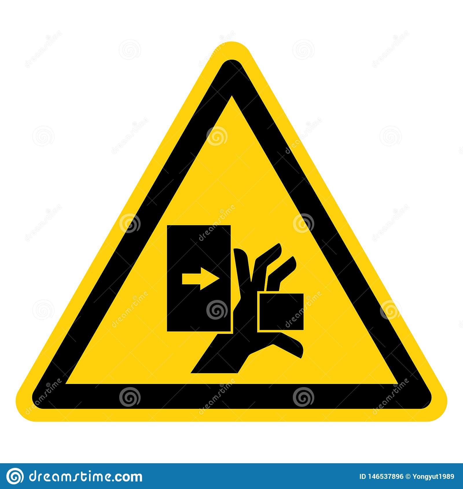 A m?o esmaga a for?a do sinal esquerdo do s?mbolo, ilustra??o do vetor, isolado na etiqueta branca do fundo EPS10
