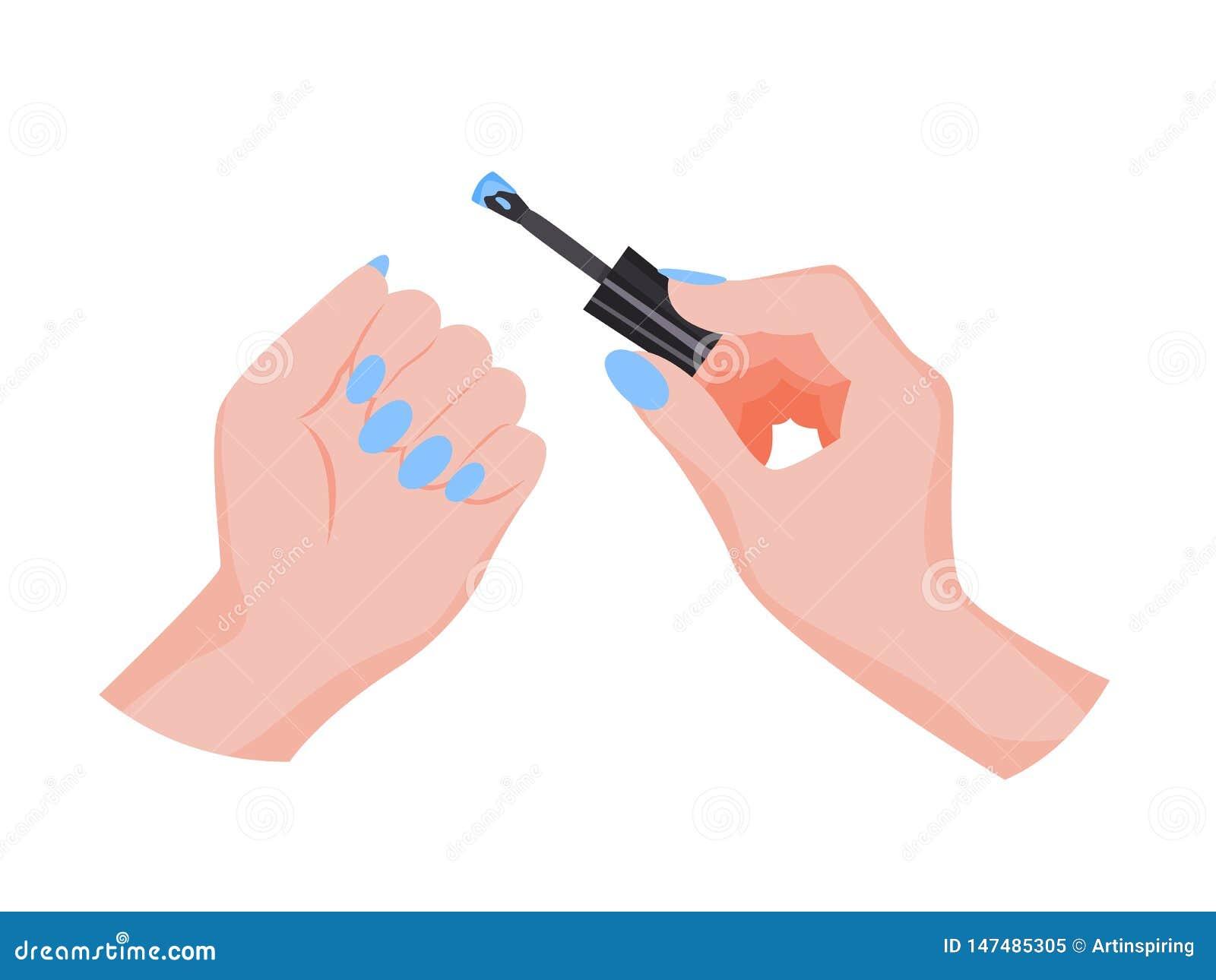M?o que aplica o verniz para as unhas Fazendo o manicure Palmas f?meas