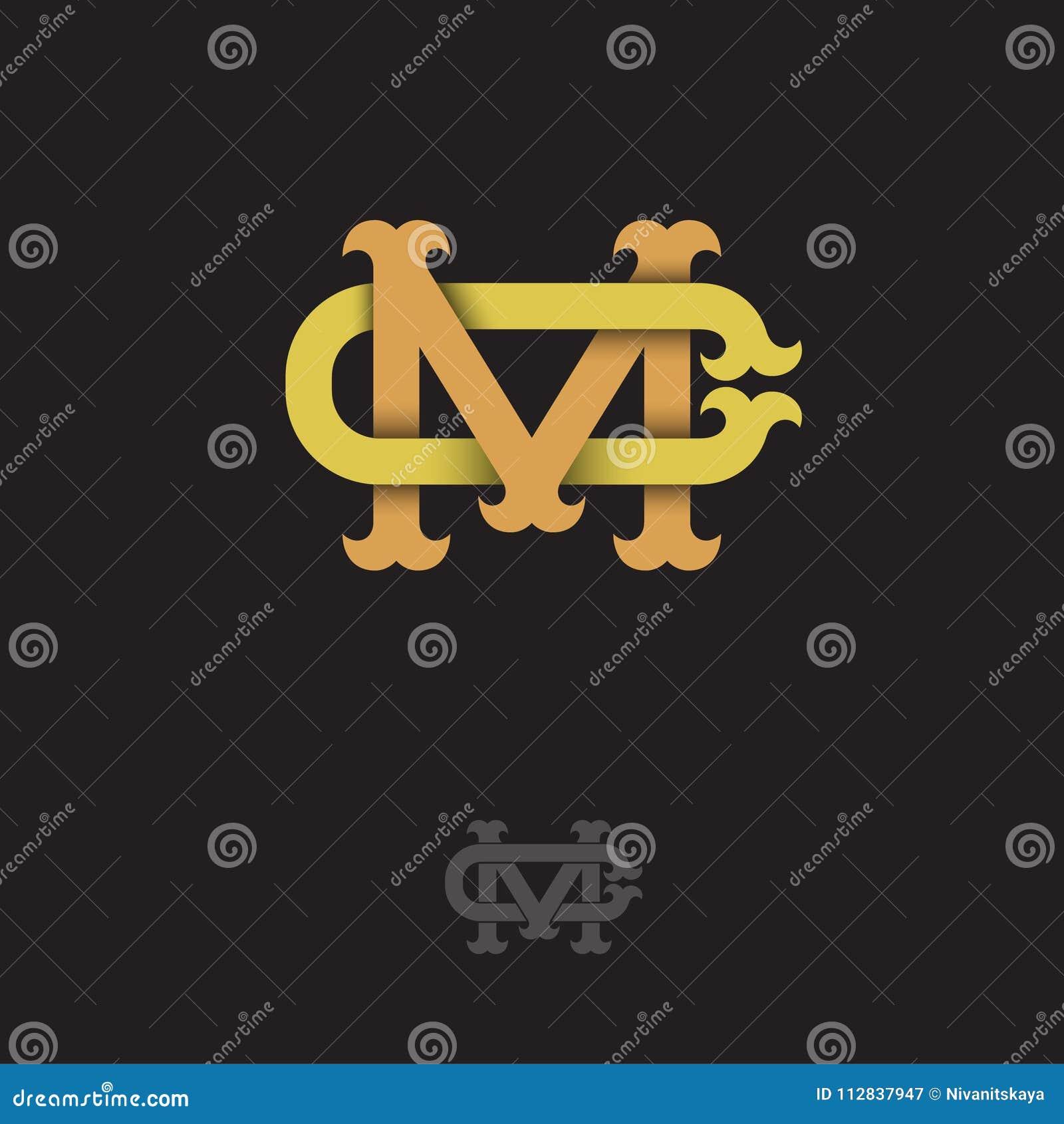 M- och c-monogram M och C korsade bokstäver, flätade samman bokstavsinitialer