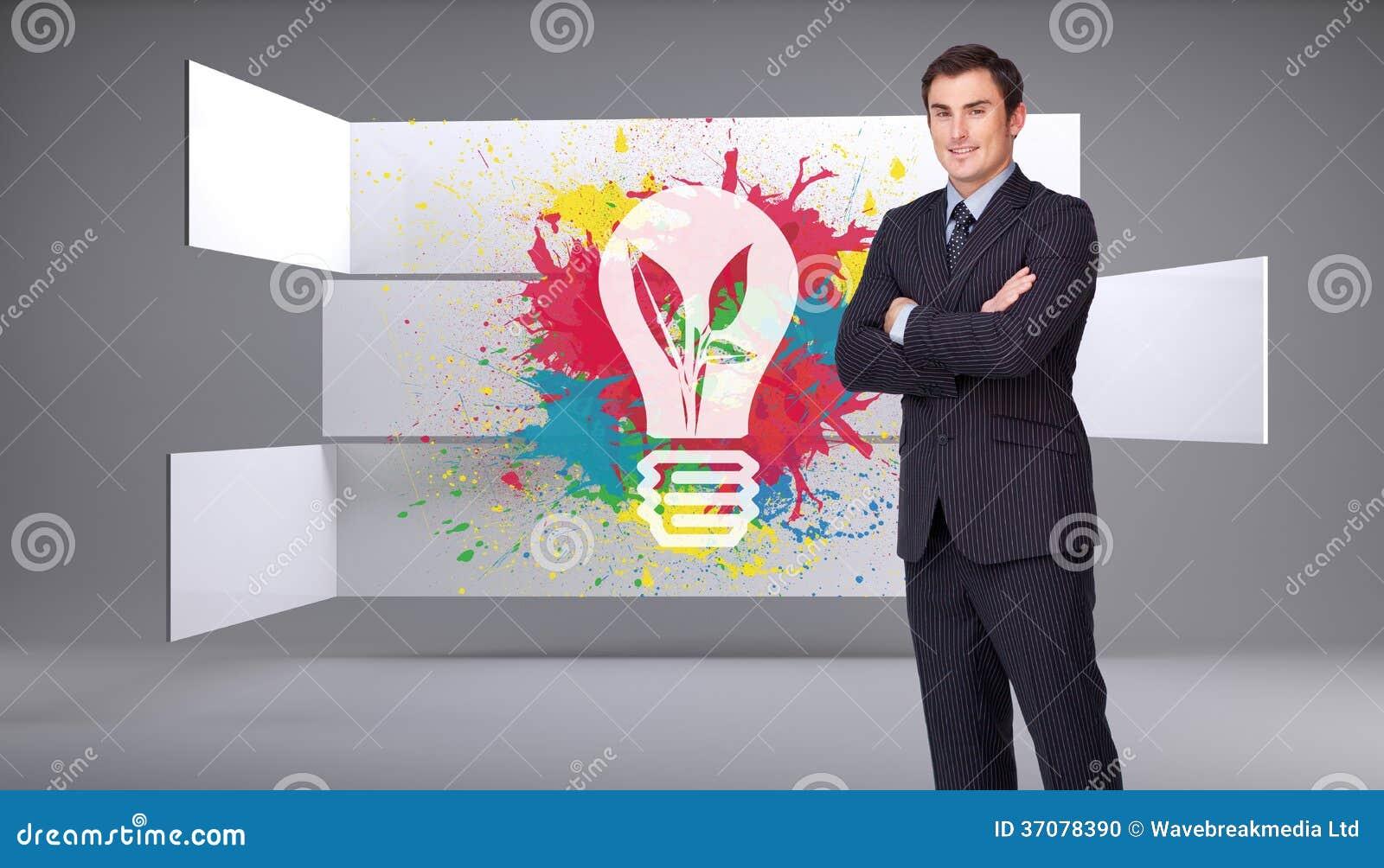 Download Młoda Biznesmen Pozycja Crossarmed Zdjęcie Stock - Obraz złożonej z digitalis, pomysł: 37078390