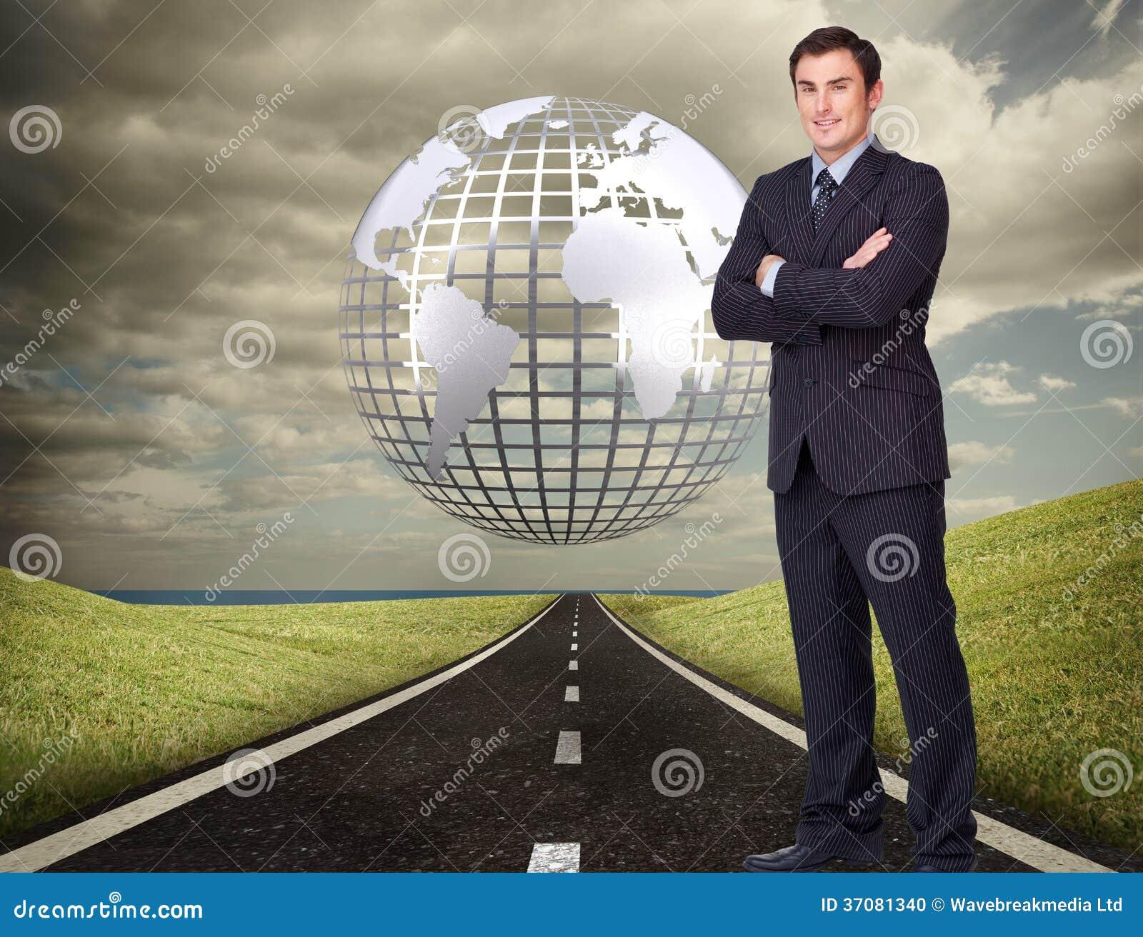 Download Młoda Biznesmen Pozycja Crossarmed Zdjęcie Stock - Obraz złożonej z digitise, jeden: 37081340