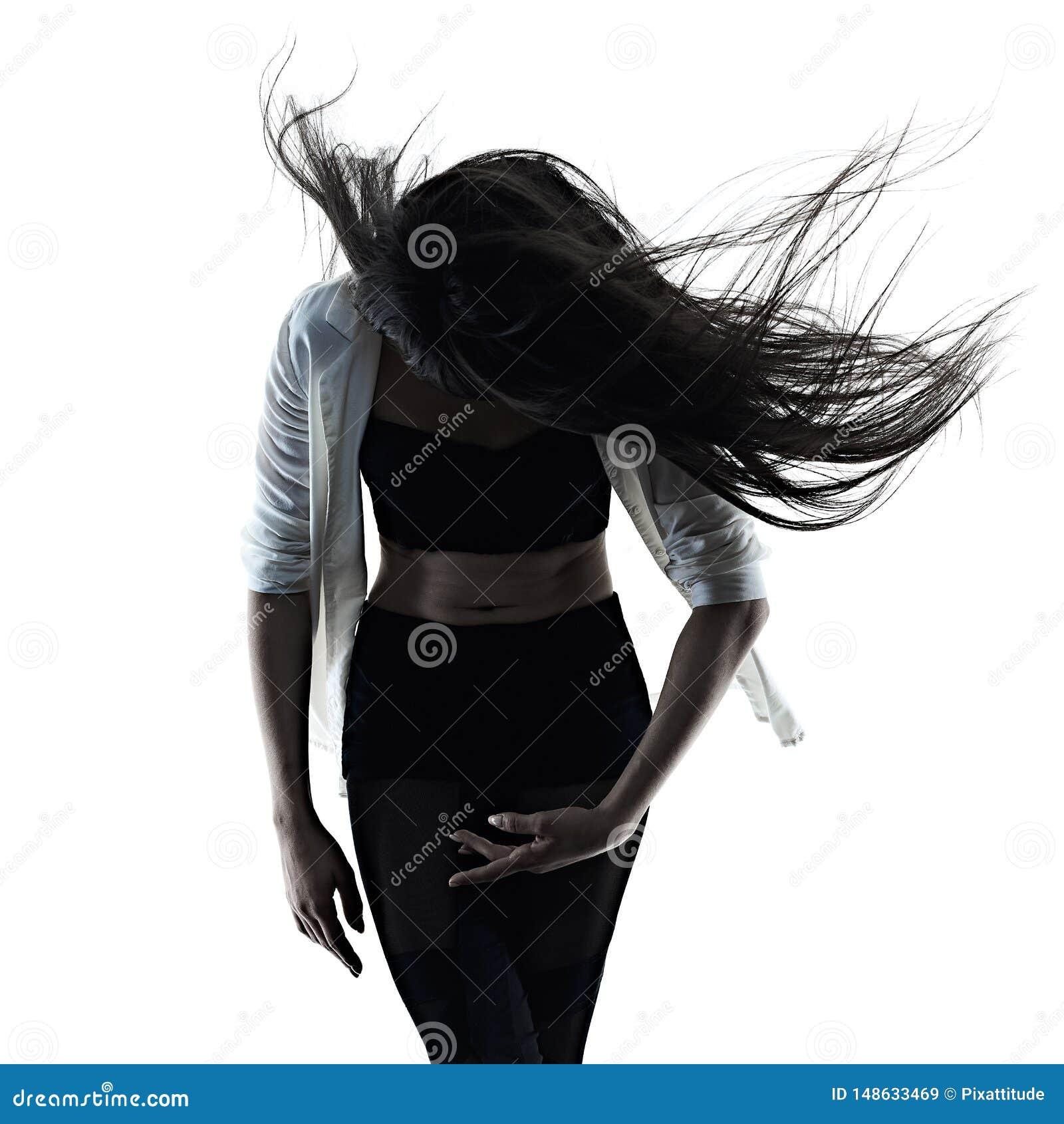 M?oda kobieta baletniczego tancerza t?a sylwetki nowo?ytny taniec odizolowywaj?cy bia?y cie?