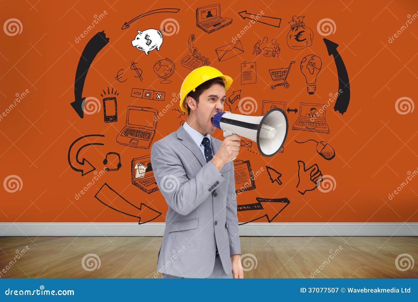 Download Młody Architekt Wrzeszczy Z Megafonem Ilustracji - Ilustracja złożonej z pomarańcze, ubierający: 37077507