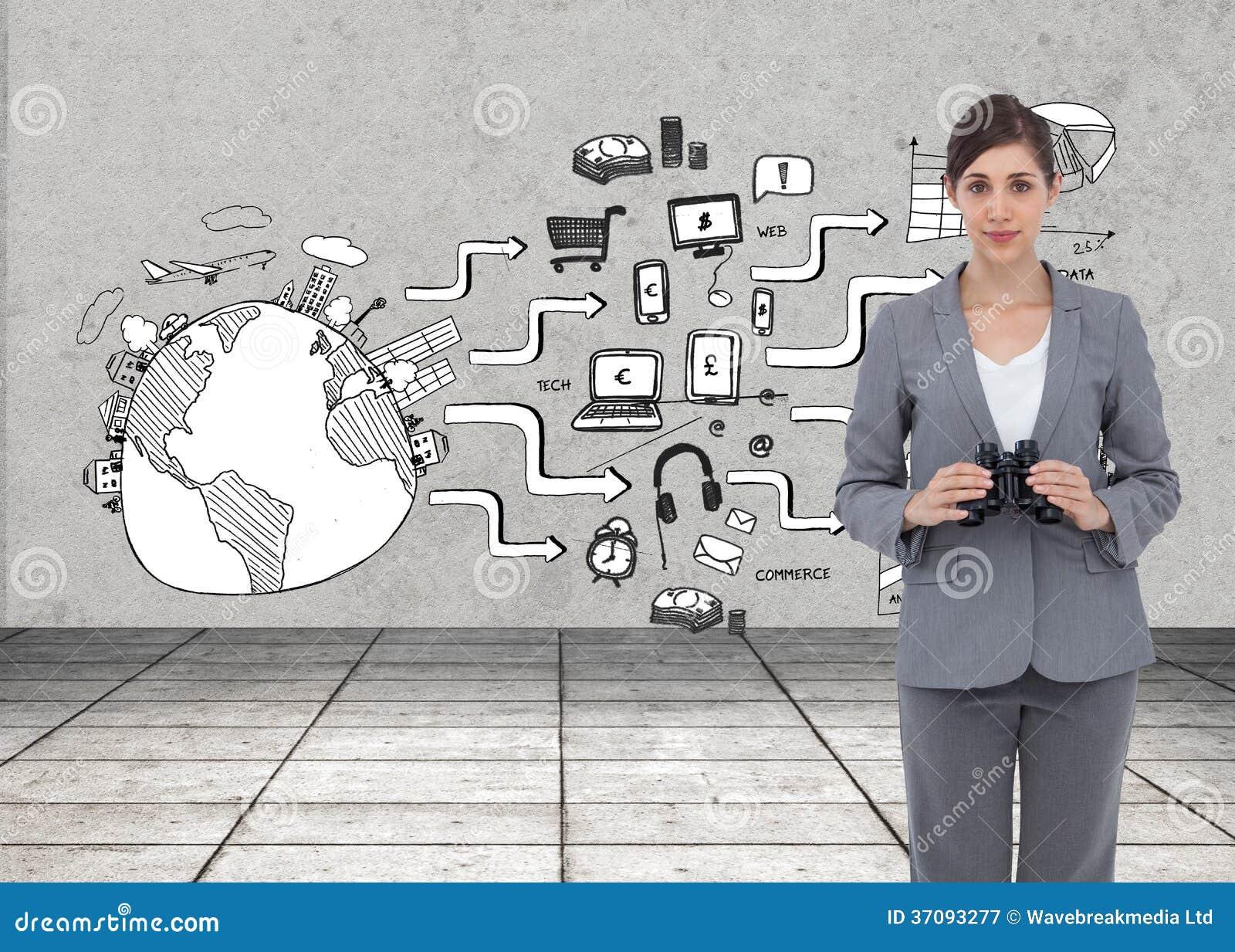 Download Młody Bizneswoman Z Lornetkami Obraz Stock - Obraz złożonej z digitise, nowy: 37093277