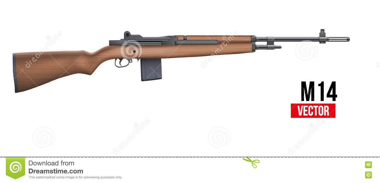 M14 rifle Vector stock vector. Image of isolated, bullet ...