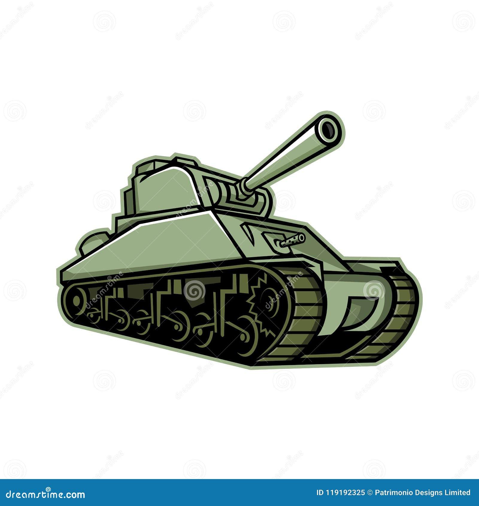 M4 Sherman Medium Tank Mascot Stock Vector - Illustration of
