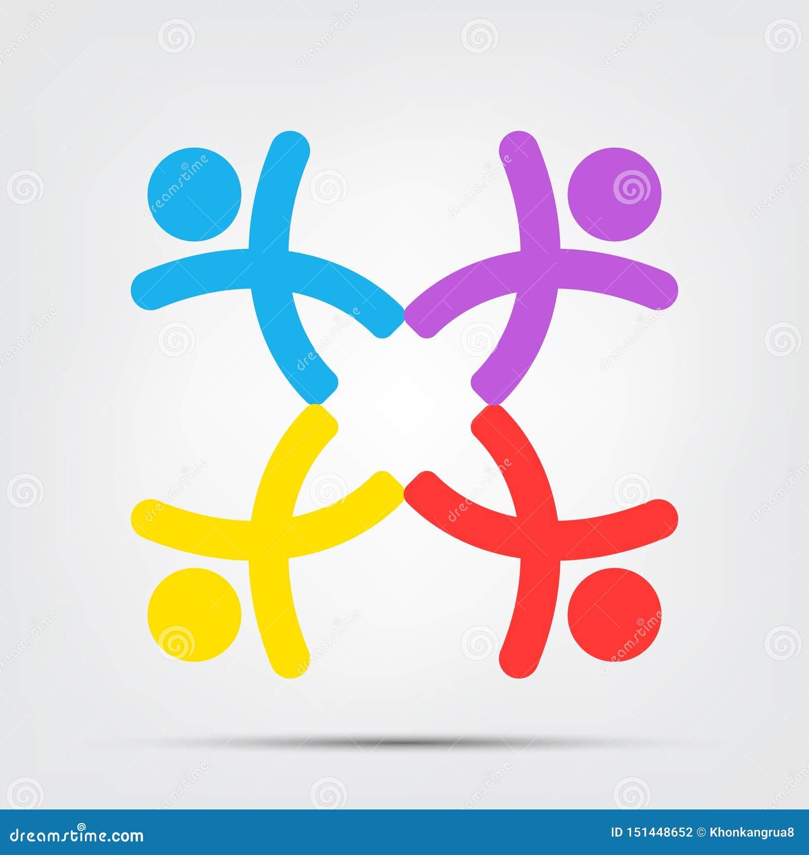 M?tesrumfolklogo grupp av fyra personer i cirkelisolat på vit bakgrund, vektorillustration