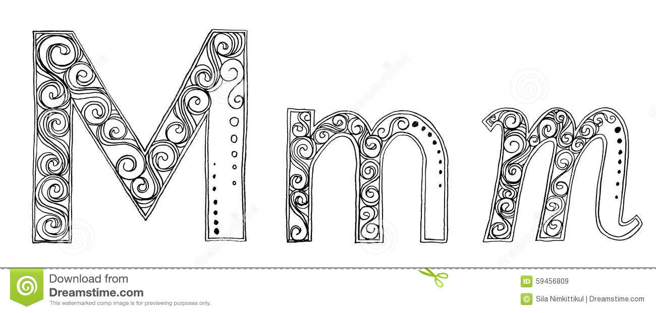 M vanda freehand pencil sketch font stock illustration
