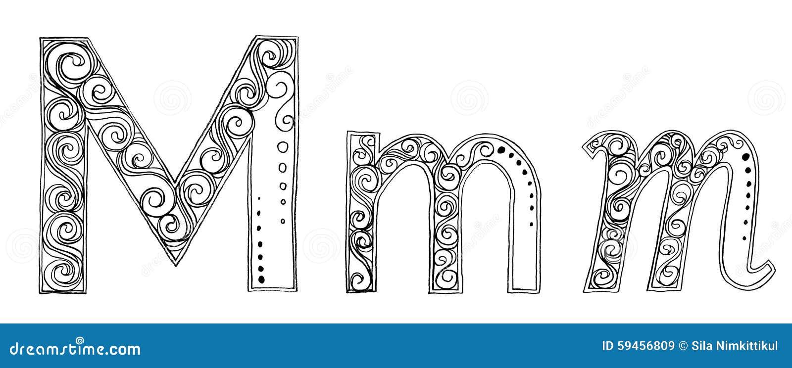 M Vanda Freehand Pencil Sketch Font Stock Illustration