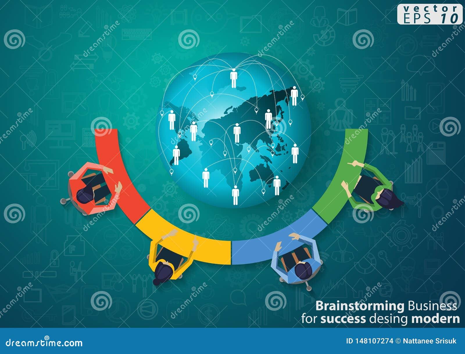 M?zg Biznesowy Brainstorming dla sukcesu nowo?ytnego projekta poj?cia i pomys?u Infographic Wektorowego ilustracyjnego szablonu z