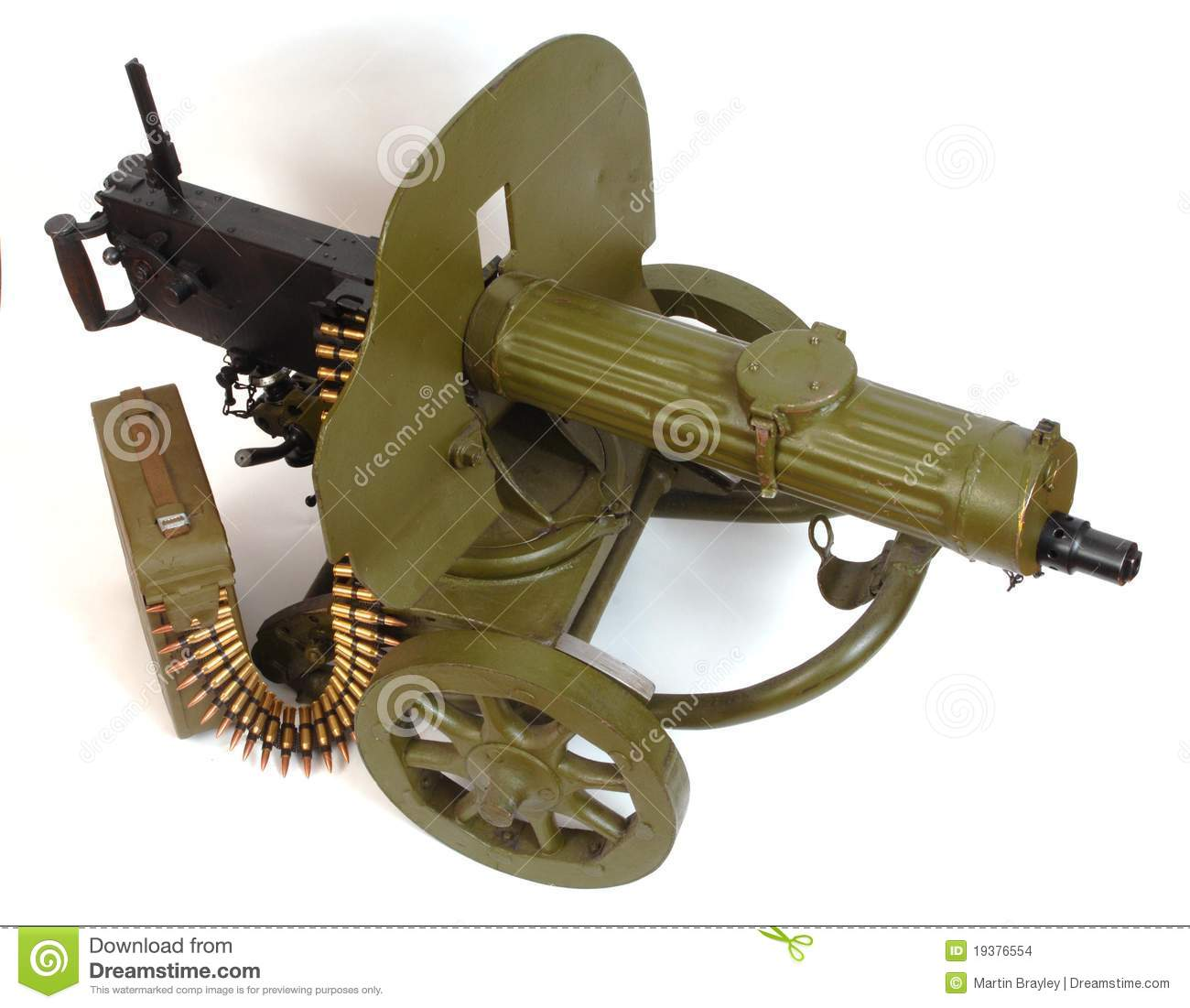 M1910 Machine Gun With Ammo Belt. Stock Images - Image ...