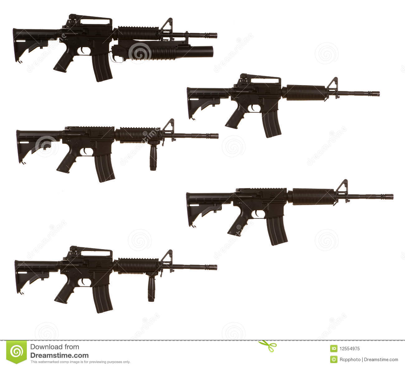 M4 Assault Rifle Variants Royalty Free Stock Photo