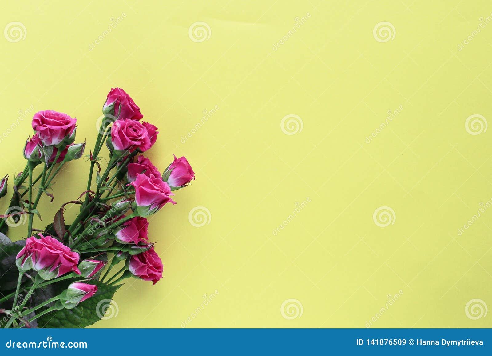 Małe ślubne róże na żółtym tle