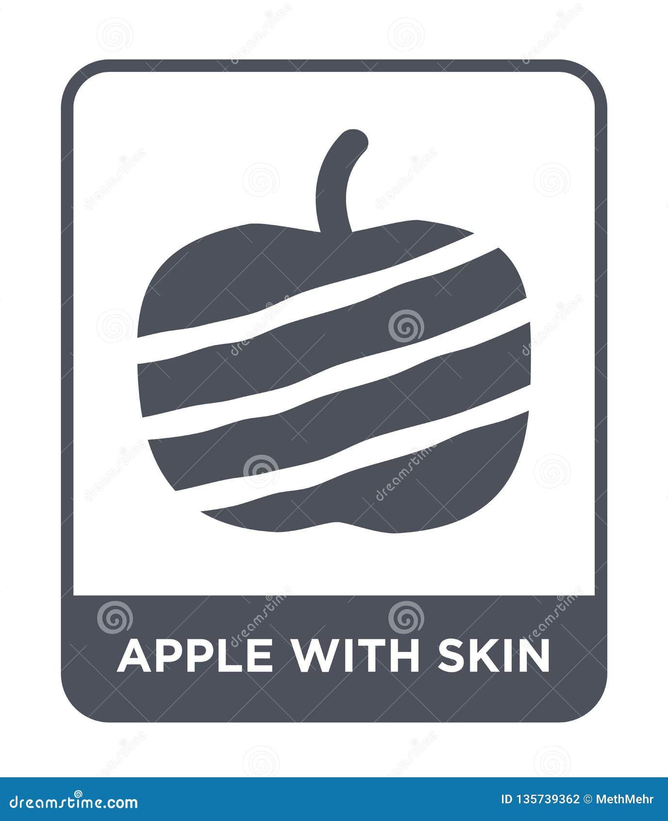 Maçã com ícone da pele no estilo na moda do projeto maçã com o ícone da pele isolado no fundo branco maçã com o ícone do vetor da