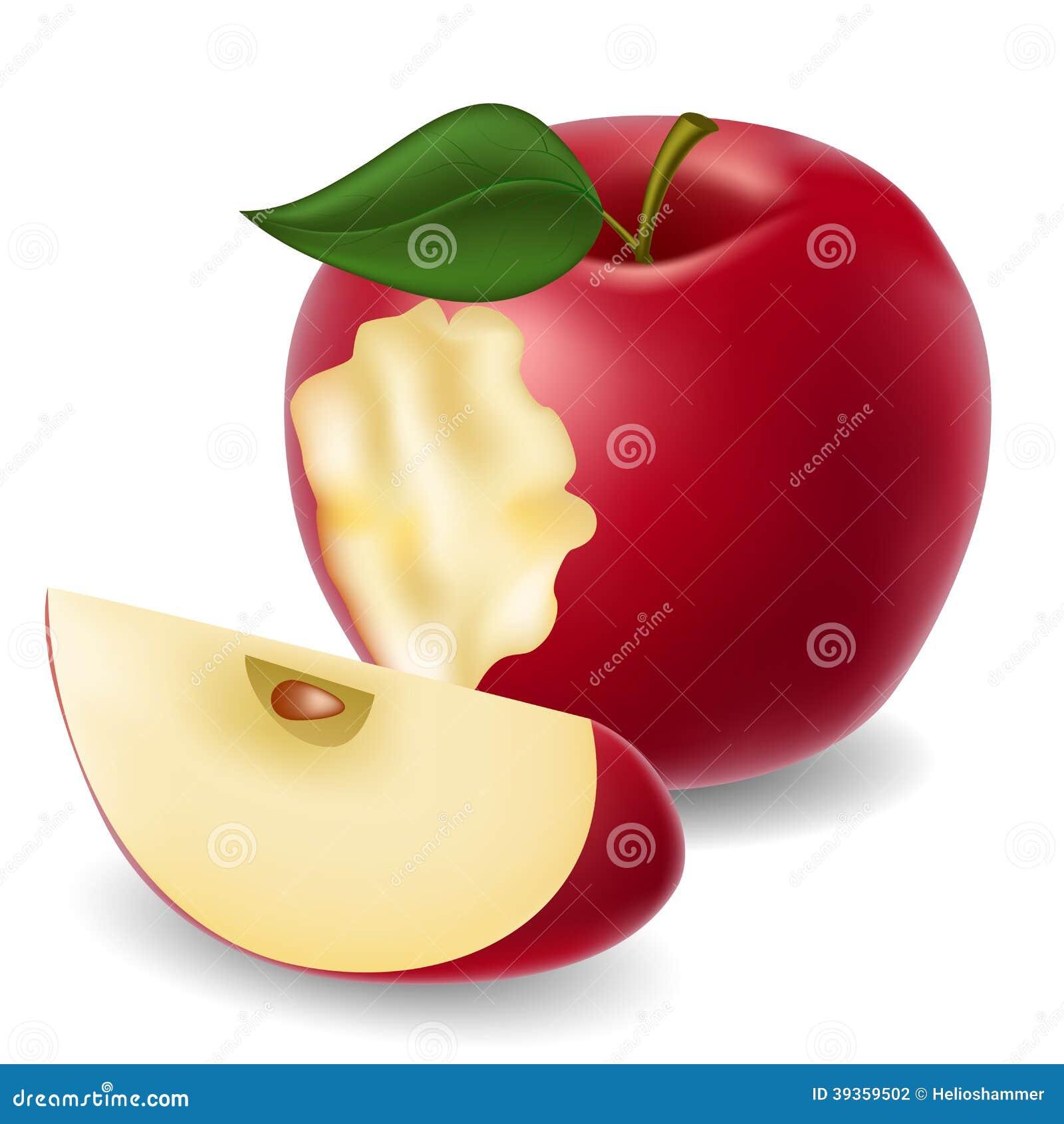 Maçã e fatia mordidas da maçã