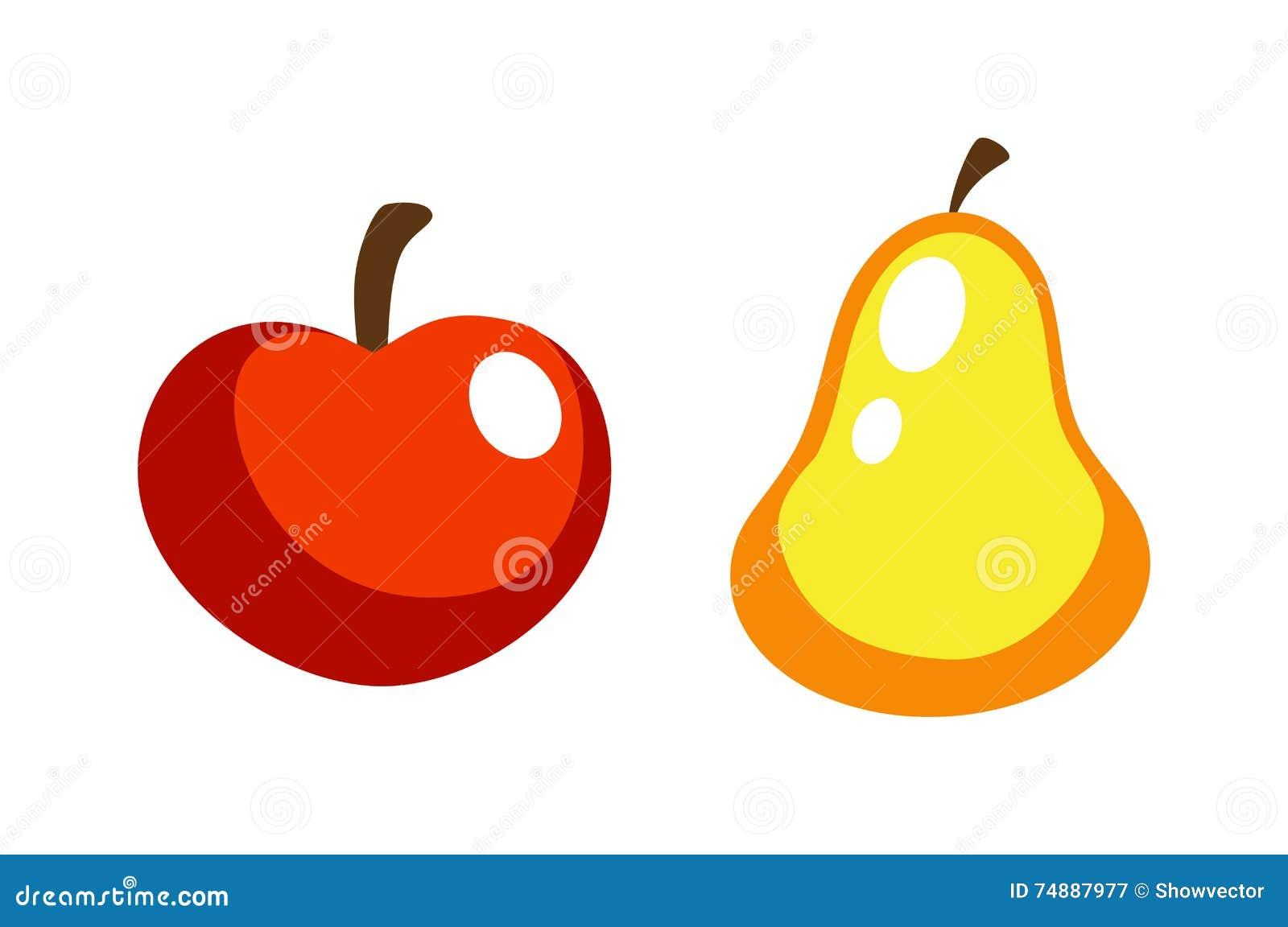 Maçã e pera vermelhas