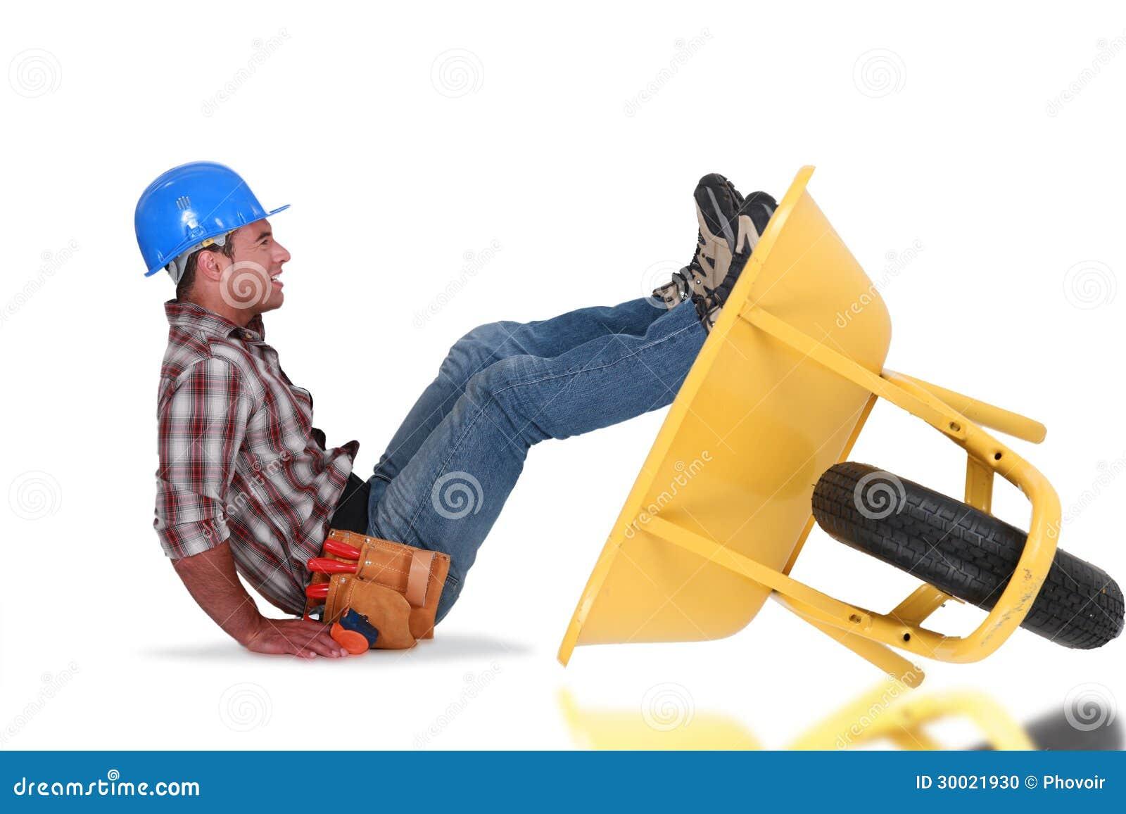 ma on avec une brouette photo stock image 30021930. Black Bedroom Furniture Sets. Home Design Ideas