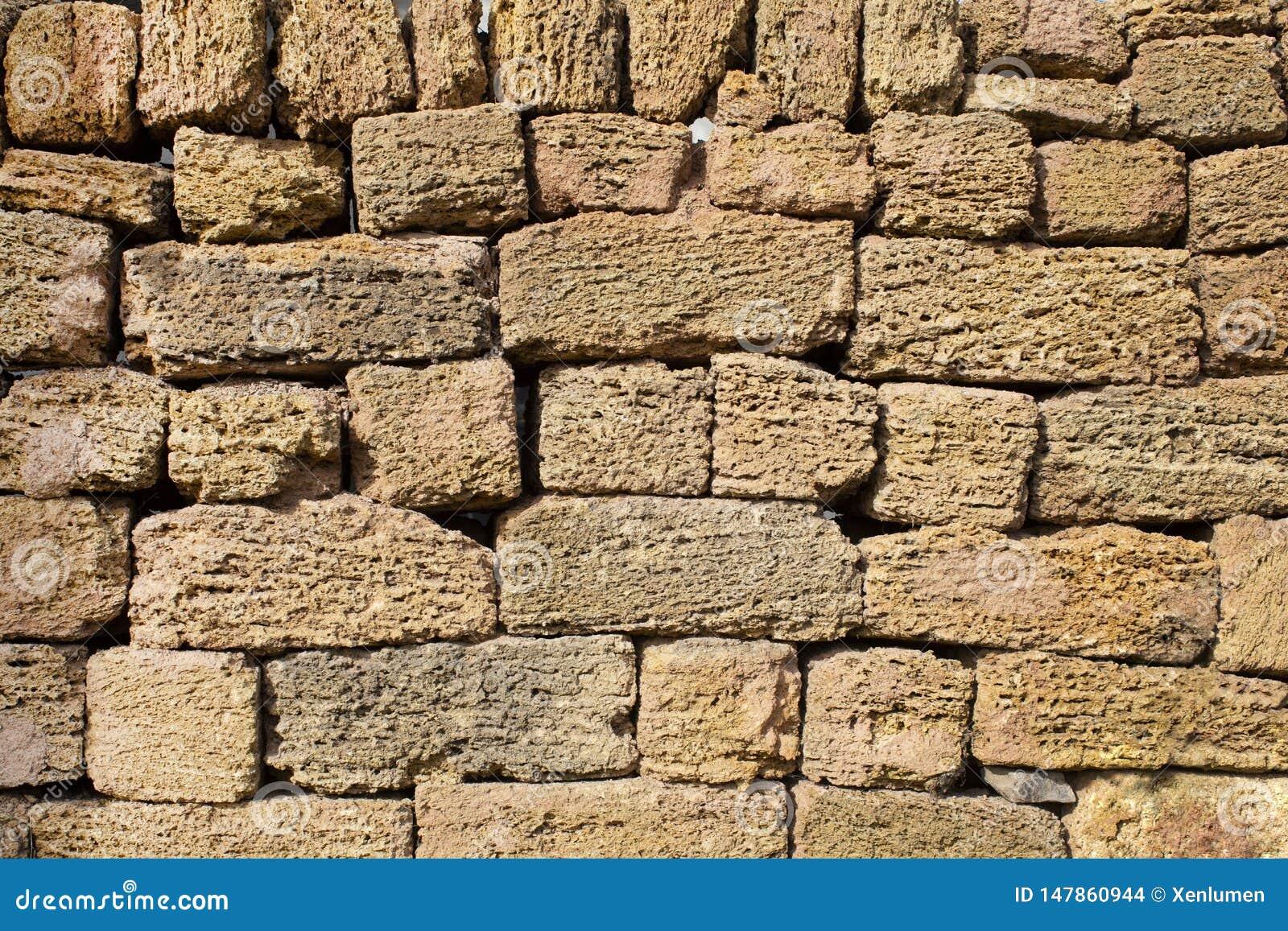 Ma?onnerie s?che de mur de briques de chaux de Brown