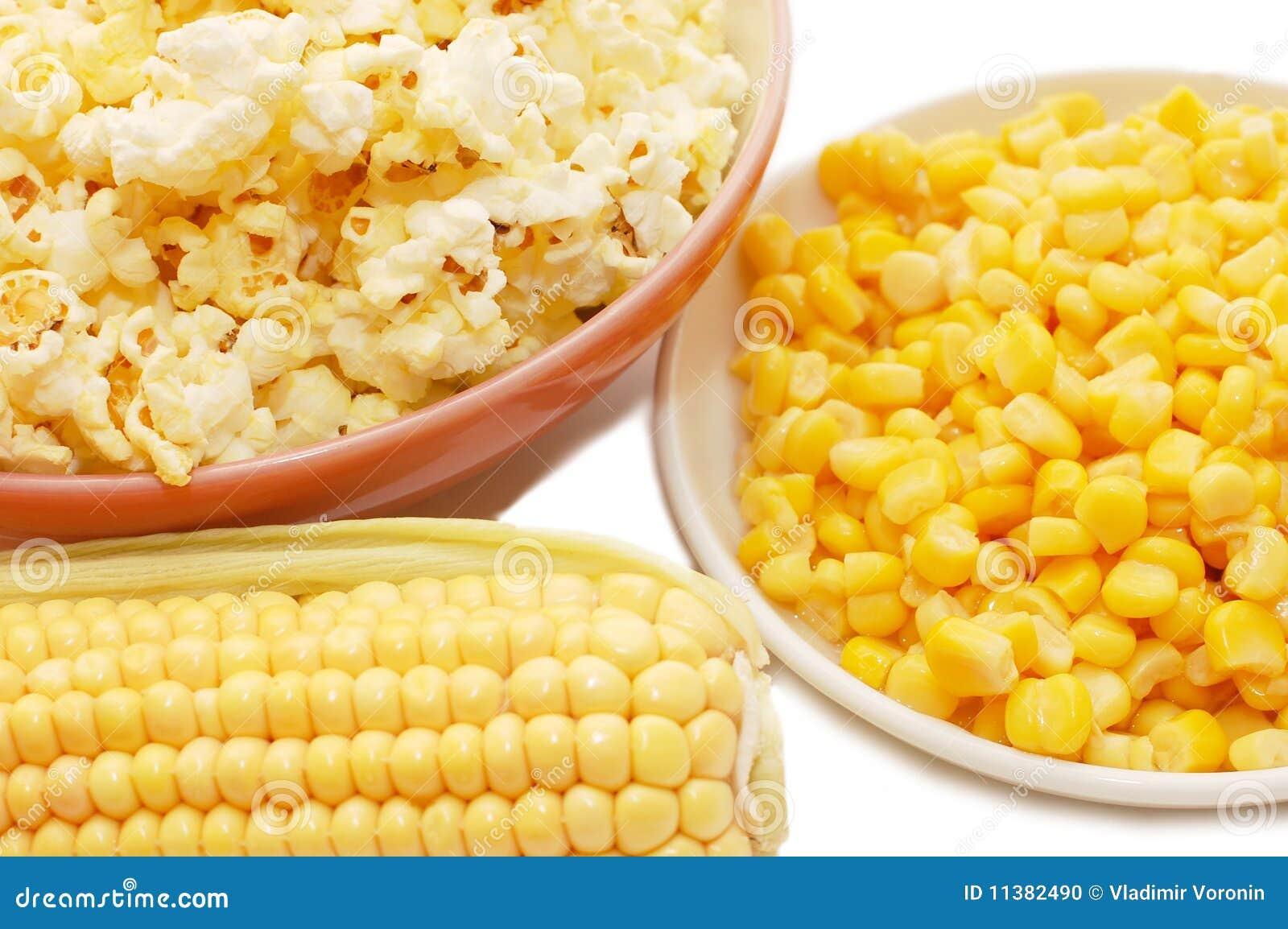 Maíz fresco, maíz preservado y palomitas
