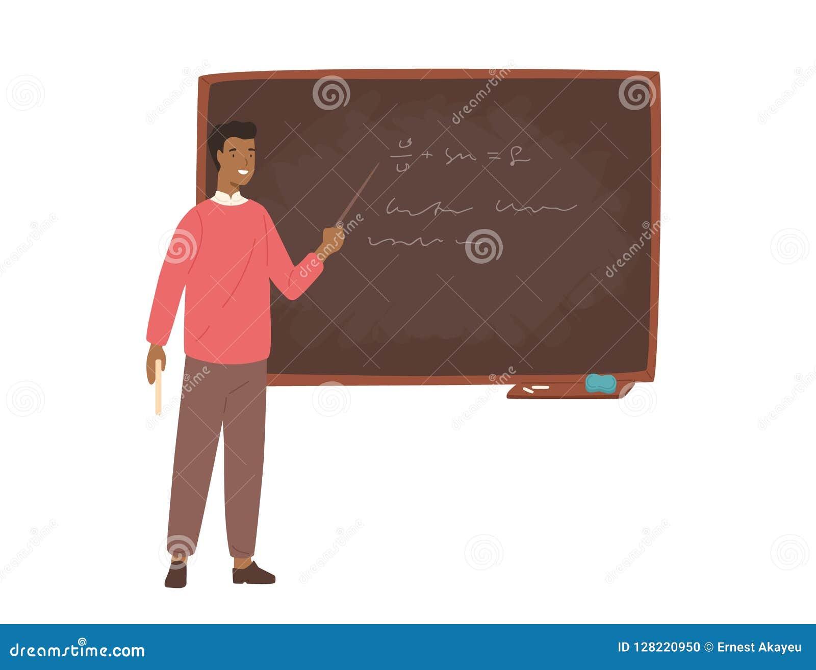 Maître d école d Afro-américain enthousiaste, professeur d université ou conférencier masculin se tenant près du tableau, se tena