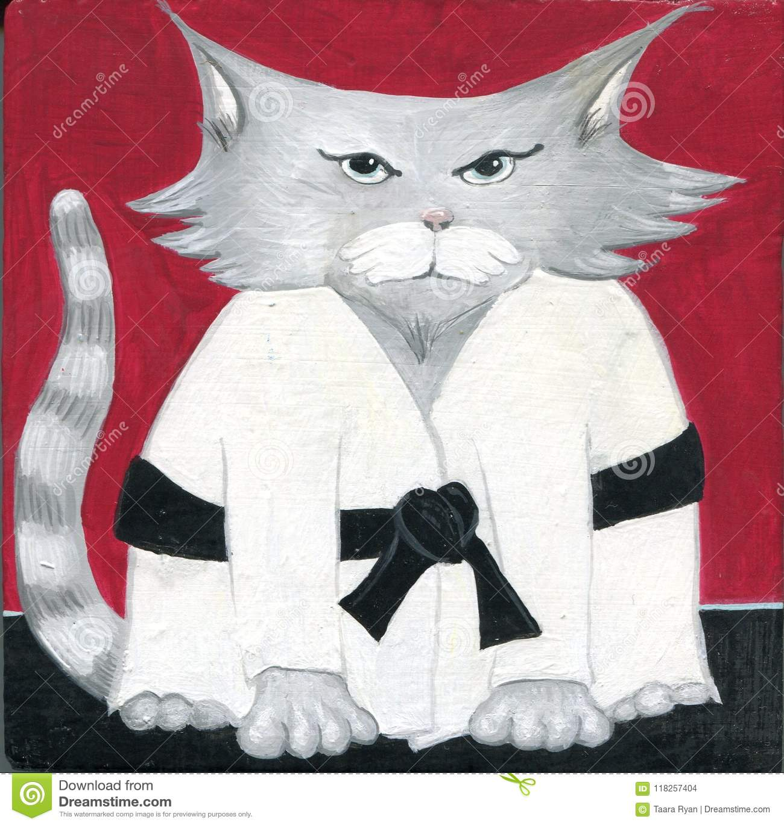 Maître peint à la main de ceinture noire d arts martiaux de karaté de Sensei de chat de bande dessinée