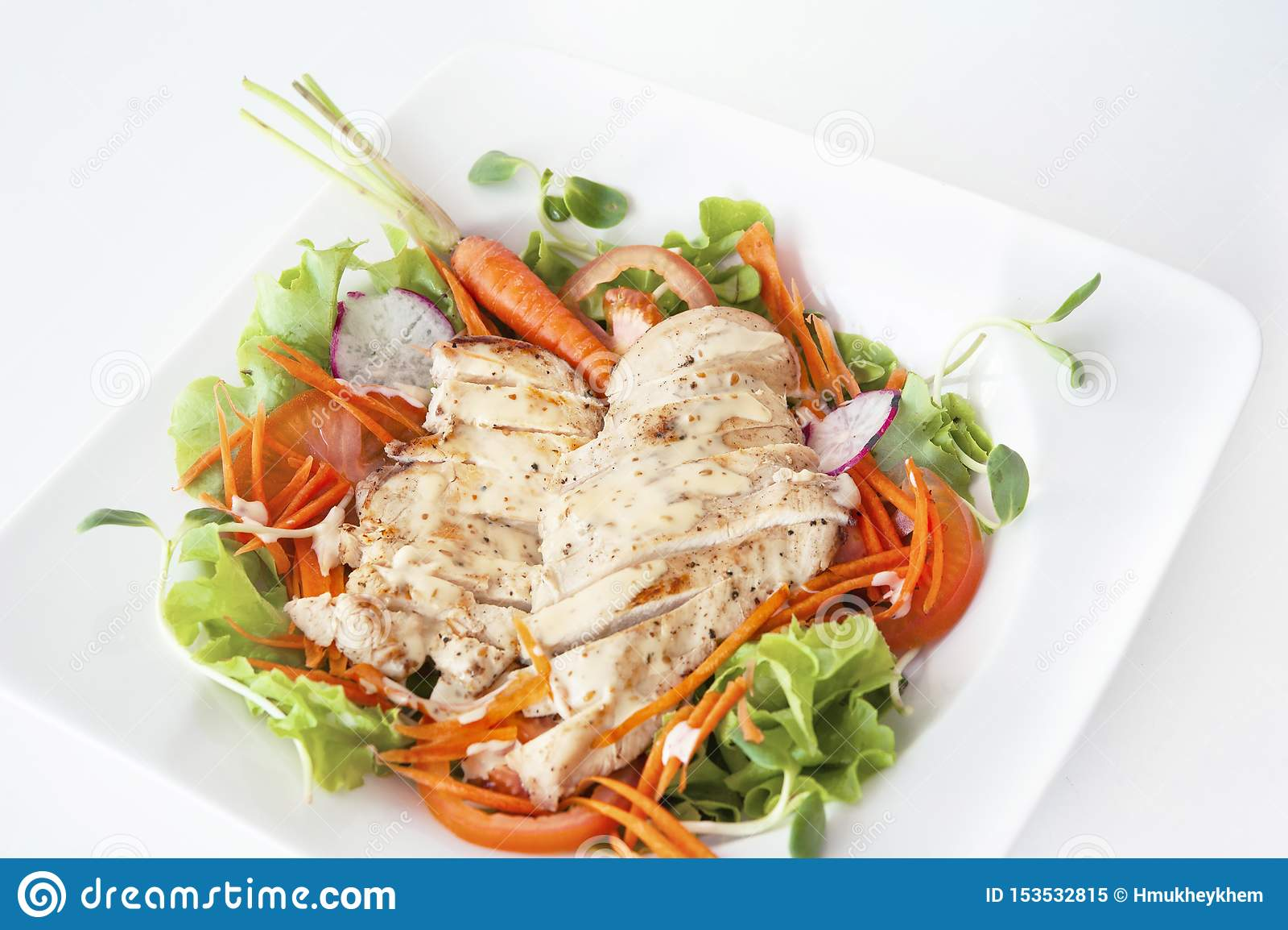 Mañana de la verdura de ensalada de pollo