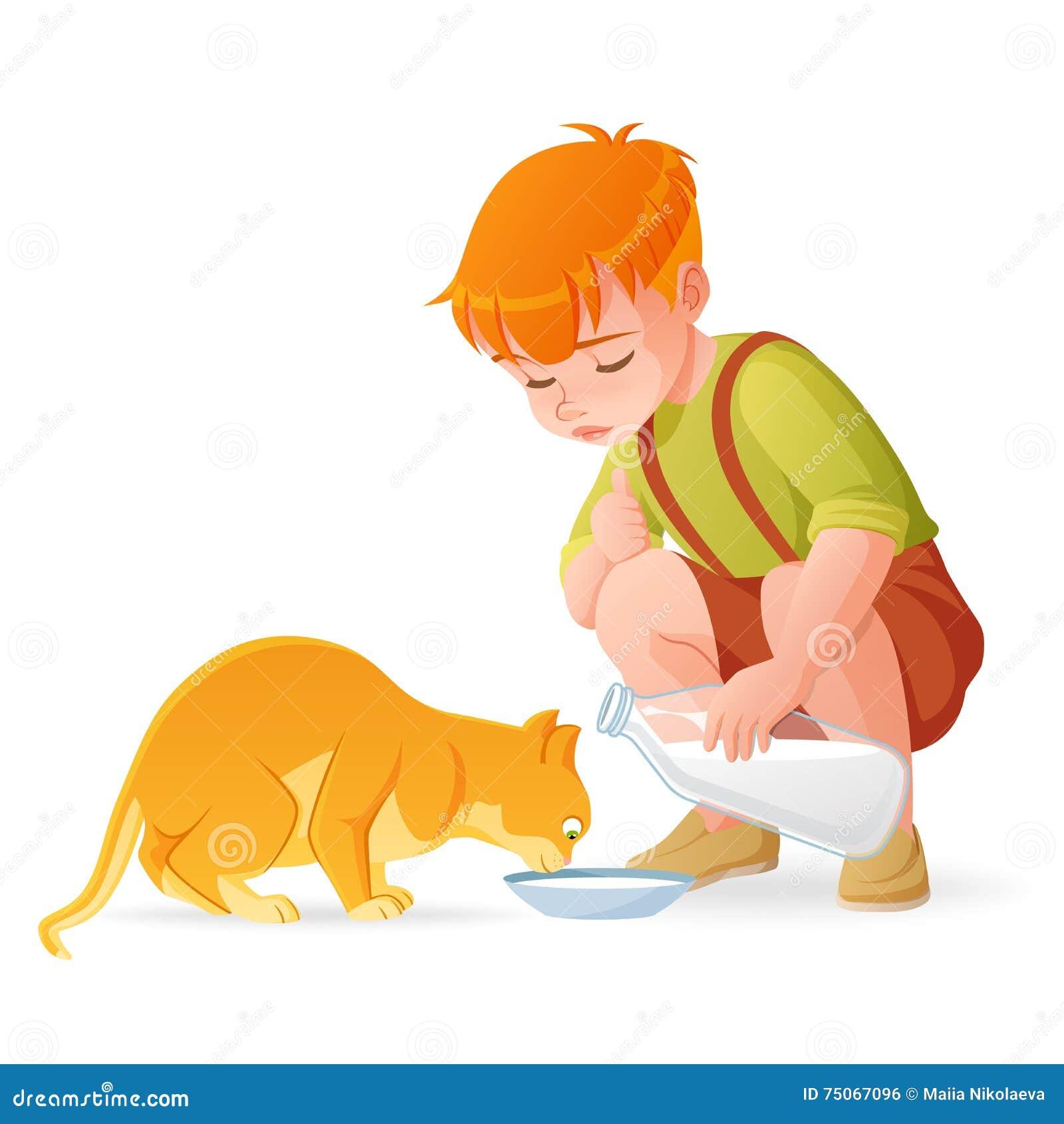 Mała śliczna rudzielec chłopiec karmi jego kota z mlekiem obcy kreskówki kota ucieczek ilustraci dachu wektor