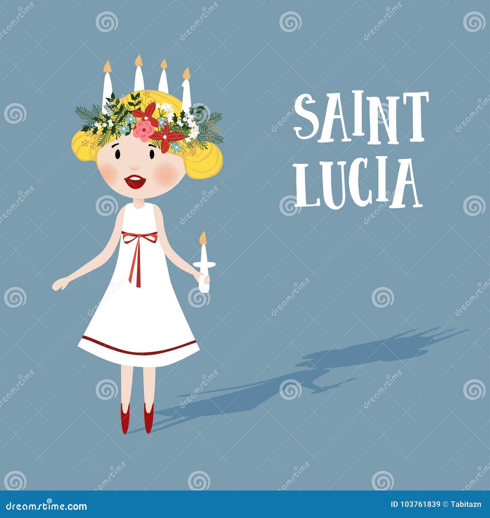 Mała blondynki dziewczyna z kwiecistym wiankiem i świeczka koronujemy, święty Lucia Szwedzka Bożenarodzeniowa tradycja, wektorowa