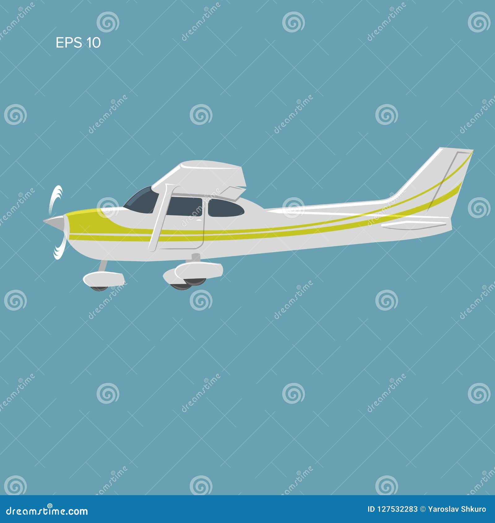 Mała intymna płaskiego wektoru ilustracja Pojedynczego silnika napędzający samolot również zwrócić corel ilustracji wektora ikona