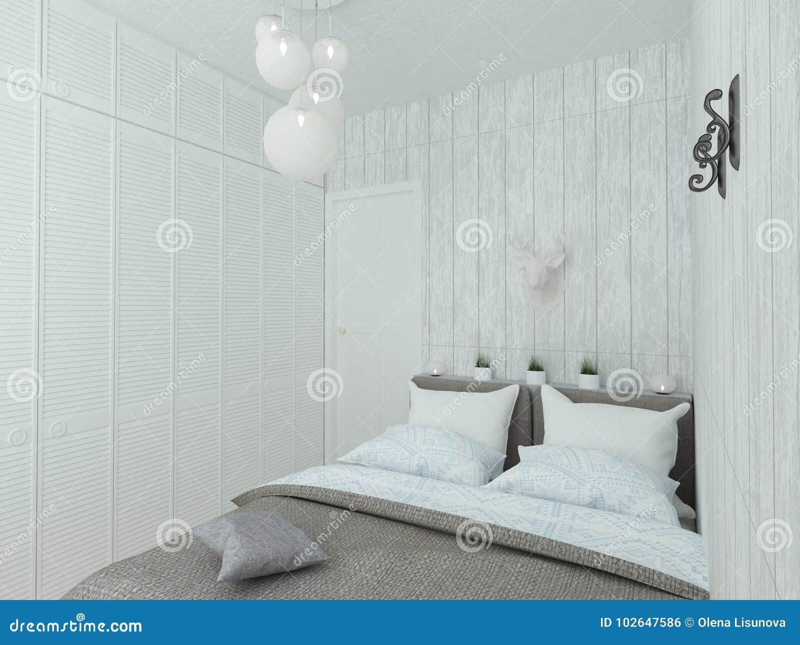 Mała Pusta Sypialnia Z Białym łóżkiem Ilustracji