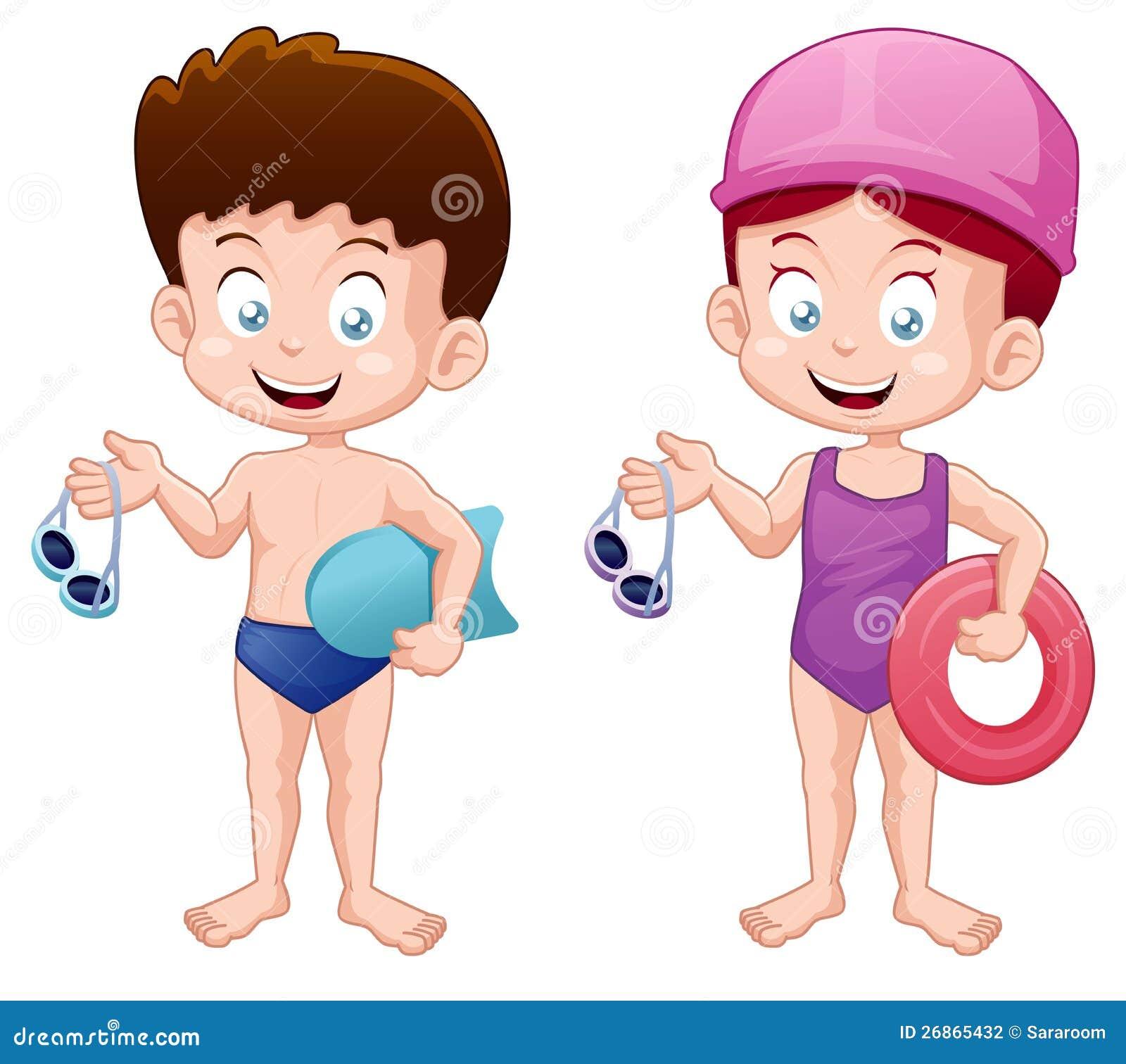 Małe Dzieci w dopłynięcie kostiumu