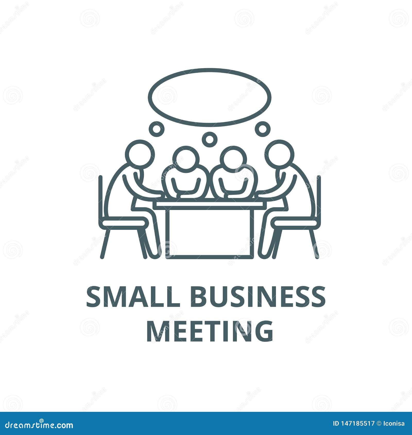 Małego biznesu spotkania wektoru linii ikona, liniowy pojęcie, konturu znak, symbol