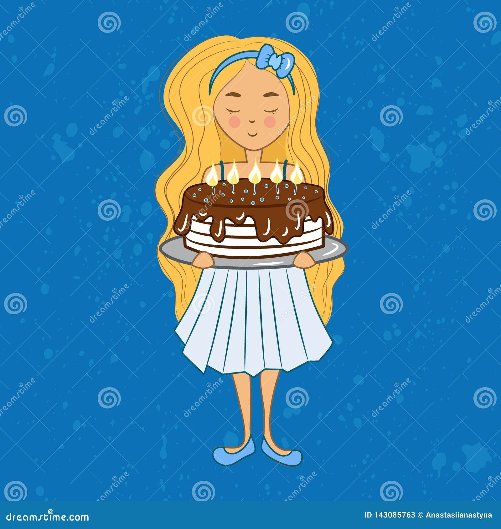 Małej blondynki urodzinowa dziewczyna z czekoladowym tortem