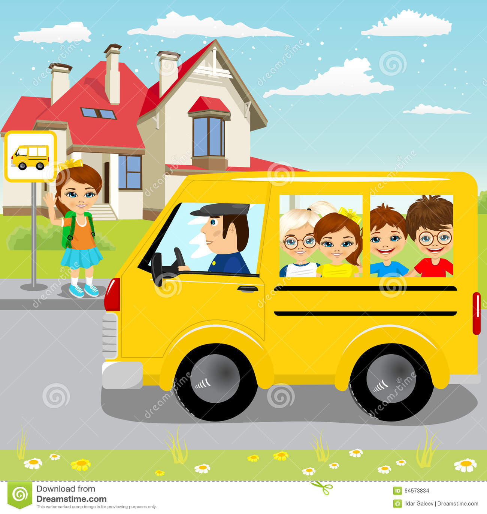 Małej dziewczynki czekanie dla schoolbus na autobusowej przerwie
