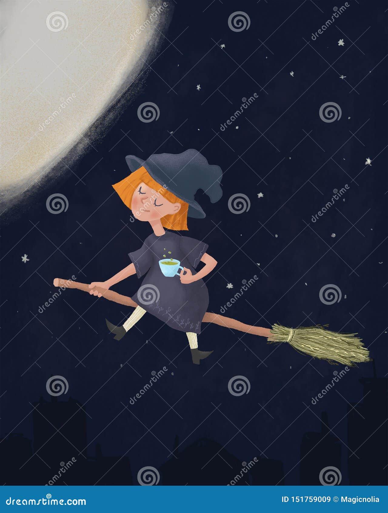 Mały śliczny śpiący czarownicy obsiadanie na miotły i mienia filiżanka kawy Cieszyć się latać w nocnym niebie przed Halloweenową