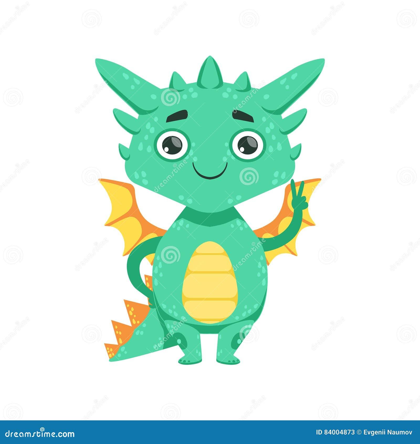 Mały Anime stylu dziecka smok Uśmiecha się pokoju gesta postać z kreskówki Emoji ilustrację I Pokazuje