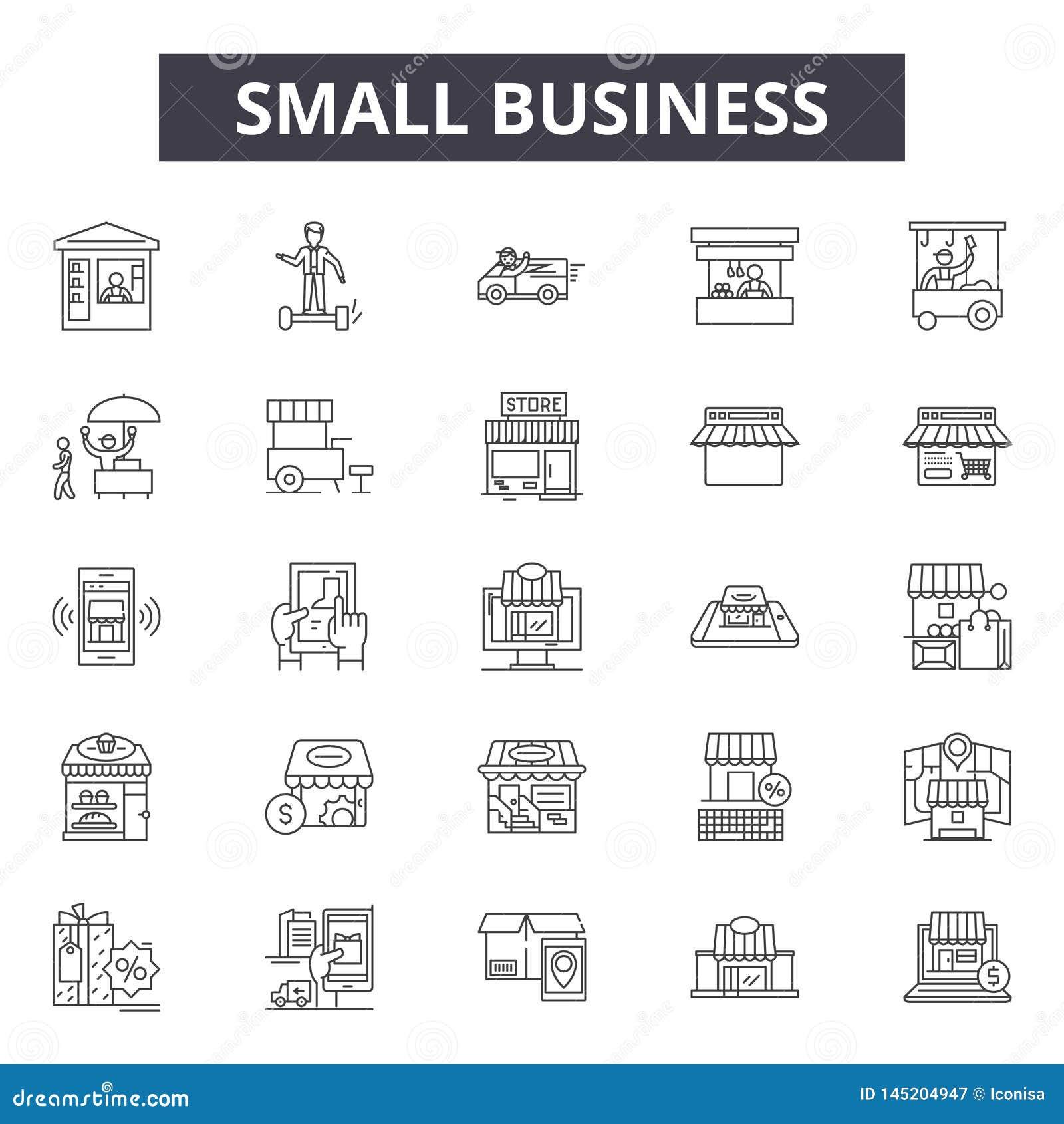 Mały biznes linii ikony, znaki, wektoru set, kontur ilustracji pojęcie
