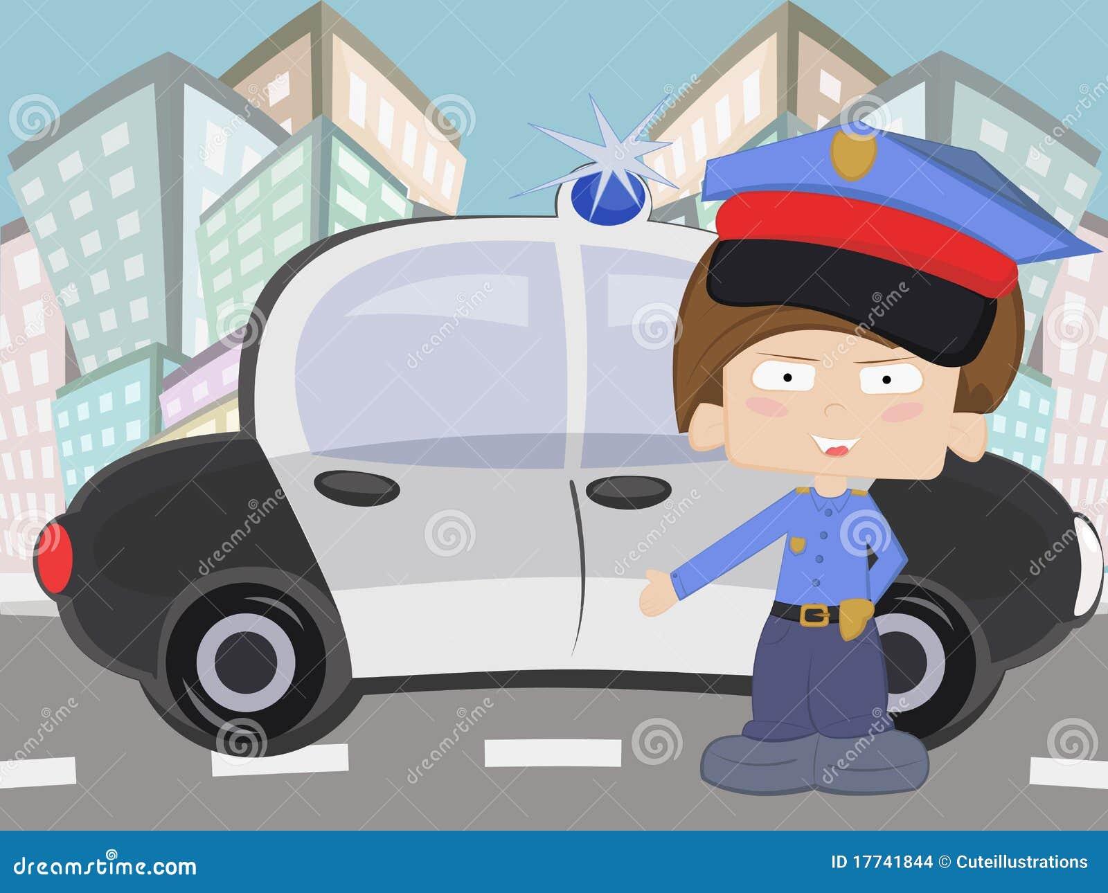 Mały chłopiec policjant