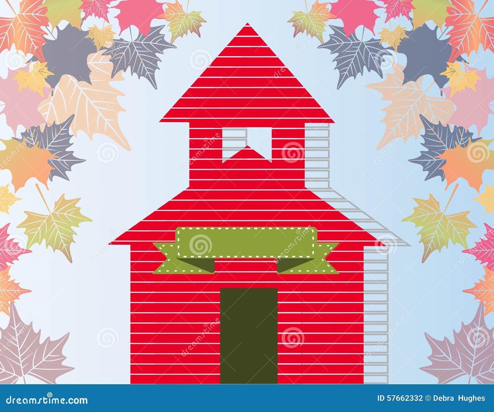 Mały czerwony budynek szkoły