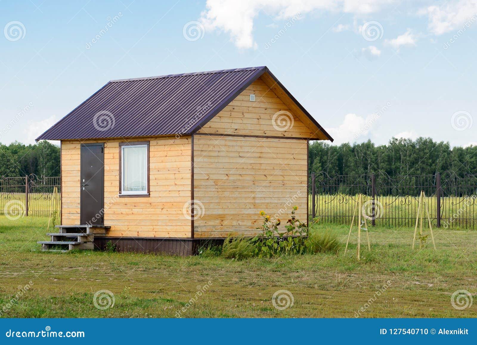 Mały drewniany panelu dom na zielonym pasie